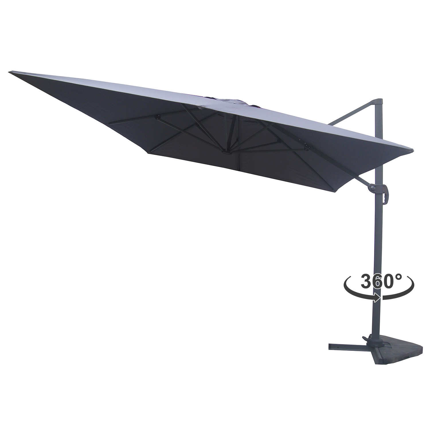 strand gris parasol d port rectangulaire 3x4m rotatif 360 parasols parasols et. Black Bedroom Furniture Sets. Home Design Ideas