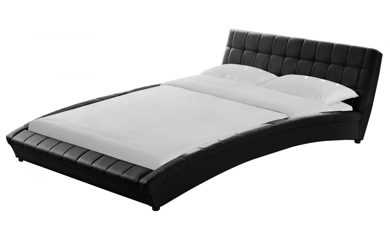 Panorama cadre de lit smili cuir capitonn noir 160x200cm for Lit capitonne cuir