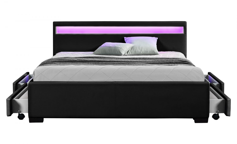 palms cadre de lit led avec rangement noir 140x160cm. Black Bedroom Furniture Sets. Home Design Ideas