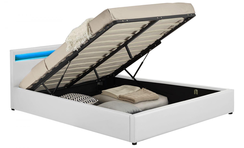 arleta cadre de lit led avec coffre blanc 140x190cm. Black Bedroom Furniture Sets. Home Design Ideas