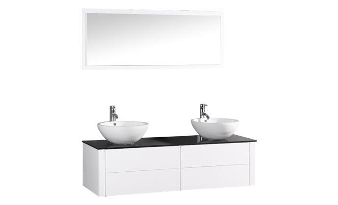 Subla - ensemble meuble + 2 vasques + 1 miroir pour salle de bain ...