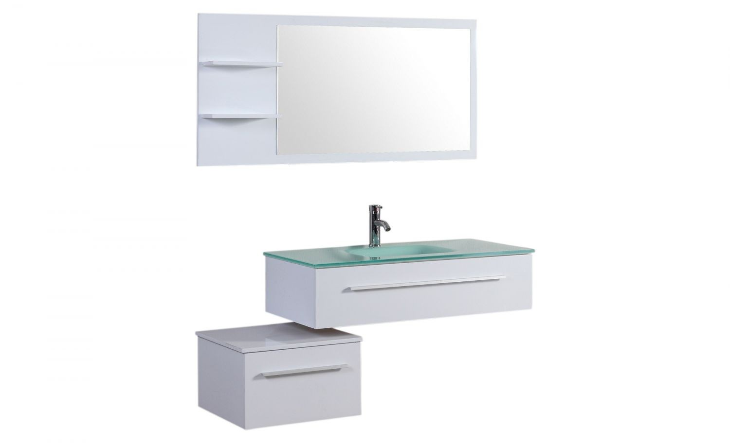 essiba ensemble 2 meubles 1 vasque 1 miroir pour salle de bain blanc meubles de salle. Black Bedroom Furniture Sets. Home Design Ideas