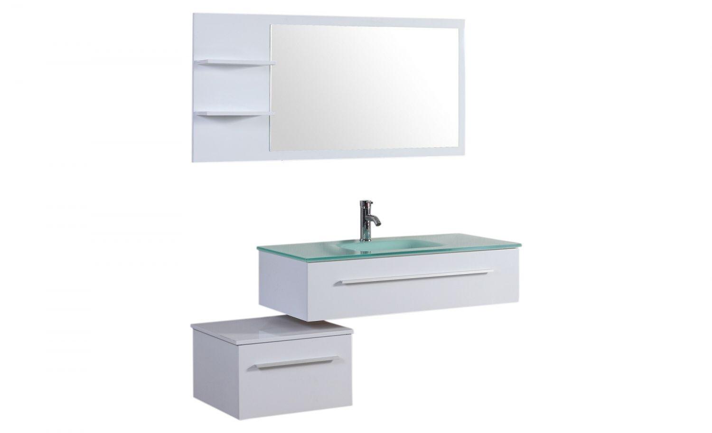 Essiba ensemble 2 meubles 1 vasque 1 miroir pour for Ensemble salle de bain blanc