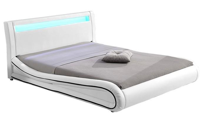 Gardena Cadre De Lit Simili Cuir Avec LED Blanc Xcm - Cadre de lit simili cuir