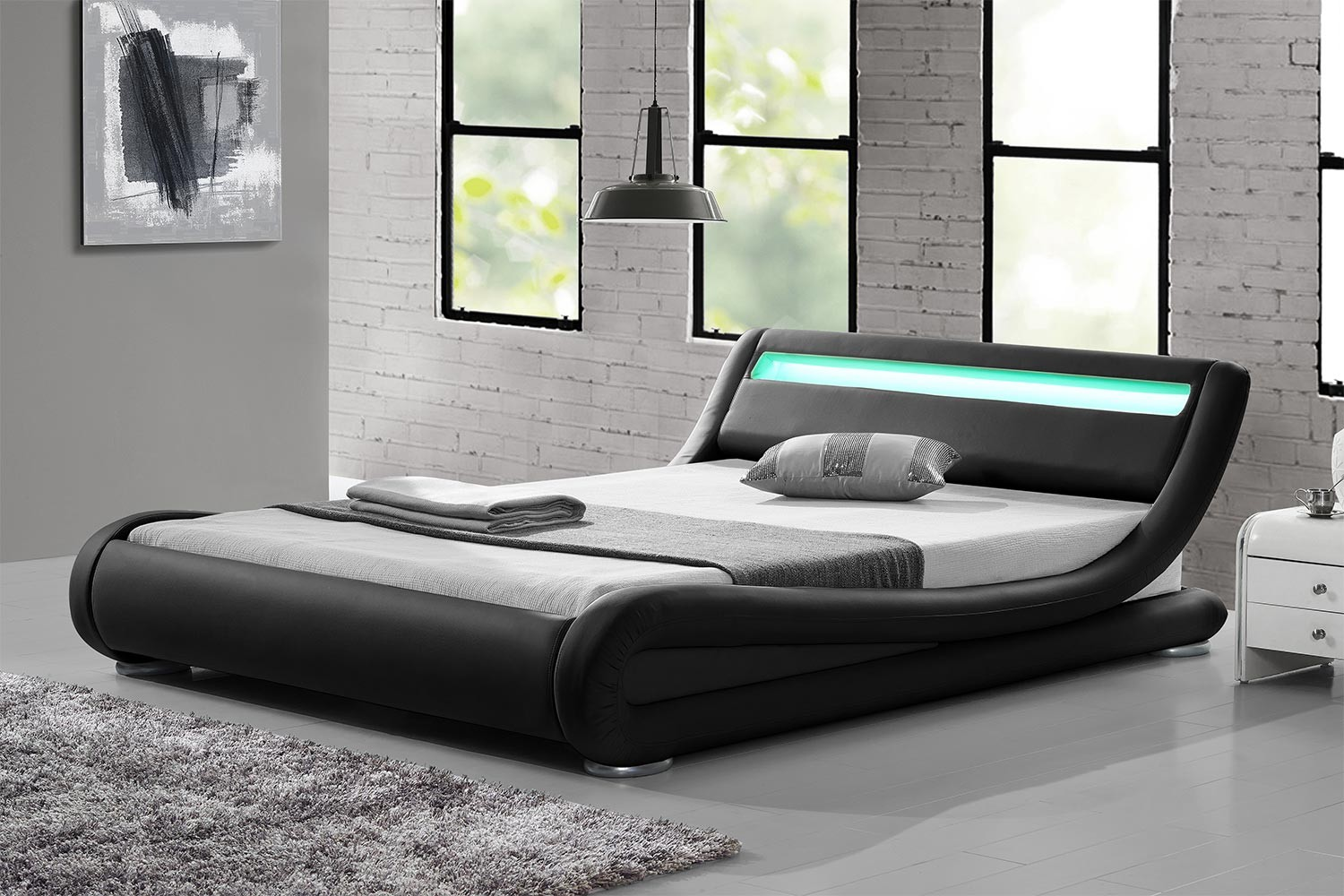 lit chicago structure de lit simili noir avec led int gr es 160x200 cm. Black Bedroom Furniture Sets. Home Design Ideas
