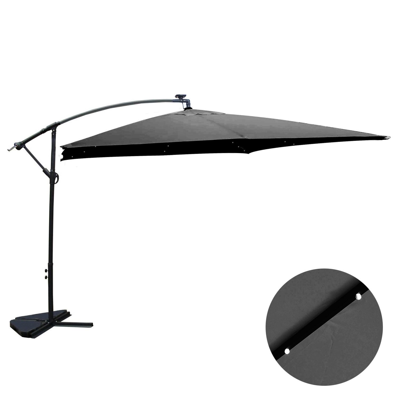 Corbara Bulle gris : parasol LED solaire déporté 3x3m