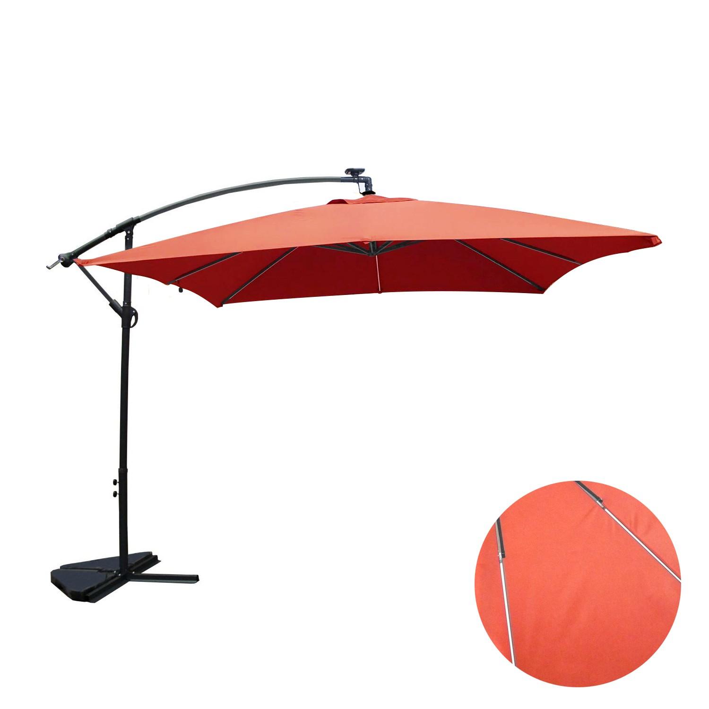 Ocana Néon terracotta : parasol LED solaire déporté 3x3m