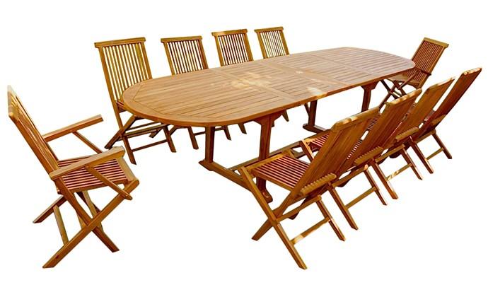 Garang 12/14 - Ensemble de jardin teck - Table ovale 8 chaises et 2 ...