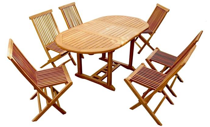 6 Teck Ensemble Jardin Chaises 68 De Garang Table Ovale 9WHD2IEY