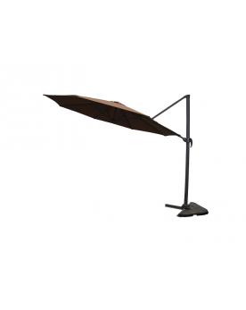 Parasol déporté rotatif à 360 degrès Castillo chocolat 350cm rond