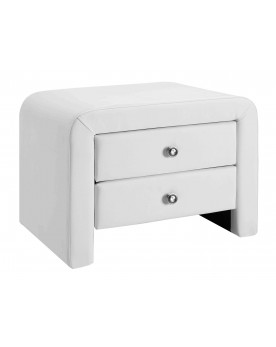 Canoga - Table de chevet simili cuir blanc