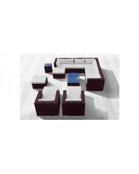 Pandawa - Ensemble de jardin modulable 14 places marron/blanc