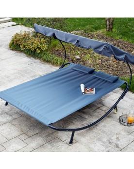 Pirae gris : transat 2 personnes avec pare-soleil en tissu Oxford