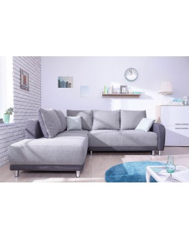 Minty Grand Angle gauche - Canapé convertible scandinave Bobochic bicolore gris clair/gris anthracite