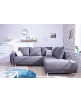 Minty Grand Angle droit - Canapé convertible scandinave Bobochic bicolore gris anthracite