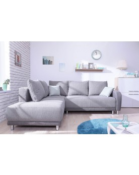 Minty Grand Angle gauche - Canapé convertible scandinave Bobochic bicolore gris clair