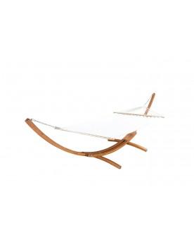 Majorque : hamac bois sur support 3,15 m - 1 personne - Toile poly-coton écrue