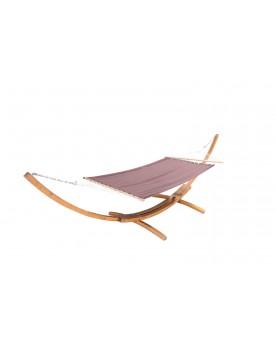 Majorque : hamac bois sur support 3,15 m - 1 personne - Toile poly-coton chocolat