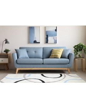 Gatha Bleu Pastel : canapé scandinave 3 places bleu pastel + 2 coussins