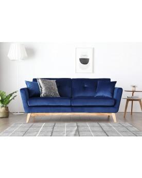 Gatha Velours Bleu : canapé scandinave 3 places velours bleu + 2 coussins