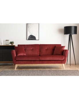 Gatha Velours Rouge : canapé scandinave 3 places velours rouge + 2 coussins