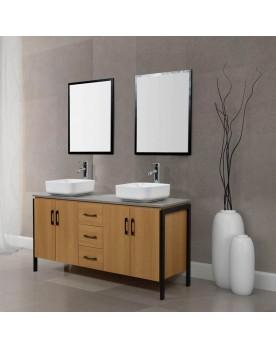 Denver ensemble de salle de bain industriel : 1 meuble, 2 vasques, 2 miroirs