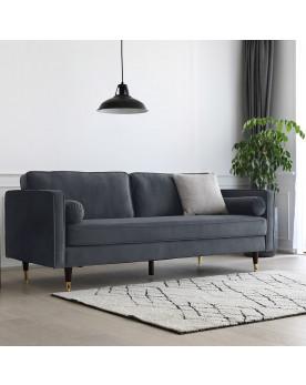 canapé 3 places en velours gris foncé