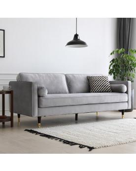 canapé en velours 3 places gris