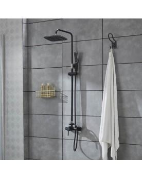 Agéa Noir Colonne de douche mitigeur carrée