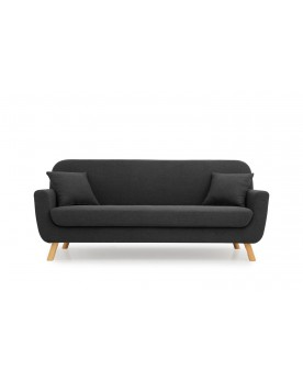 Arya 3P : canapé scandinave 3 places gris anthracite + 2 coussins