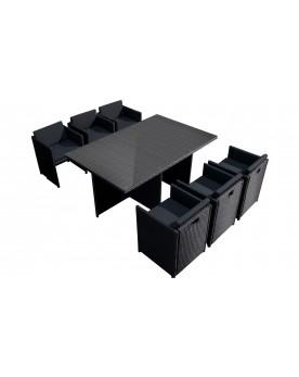 Tofino 6 places - Ensemble de jardin résine tressée encastrable noir/noir