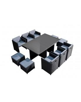 Tofino 10 places - Ensemble de jardin résine tressée encastrable noir/gris