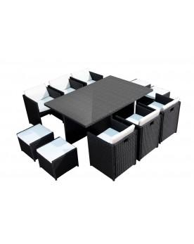 Tofino 10 places - Ensemble de jardin résine tressée encastrable noir/blanc