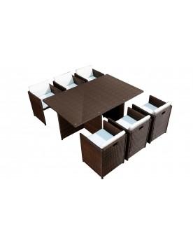 Salon de jardin encastrable résine tressée marron/blanc 12 places