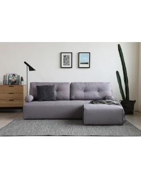 Manhattan gris clair/gris foncé : canapé modulable 3 places + 1 pouf gris clair/gris foncé