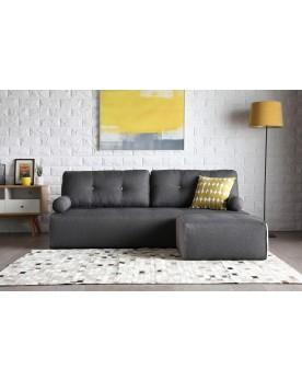 Manhattan gris foncé/gris clair : canapé modulable 3 places + 1 pouf gris foncé/gris clair