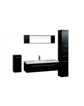 Zgoa - ensemble 3 meubles + 1 vasque + 1 miroir pour salle de bain - Wengé