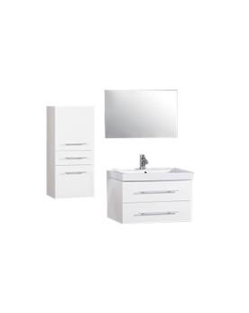 Bamhi - ensemble 2 meubles +1 vasque + 1 miroir pour salle de bain - Blanc