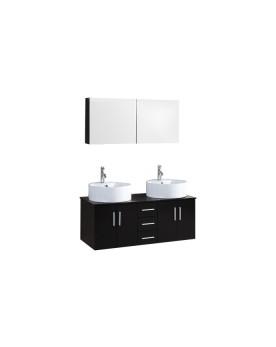 Rusati - ensemble meuble + 2 vasques + 1 miroir pour salle de bain - Wengé