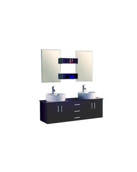 Solesio - ensembles meuble + 2 vasques + 2 miroirs pour salle de bain - Wengé