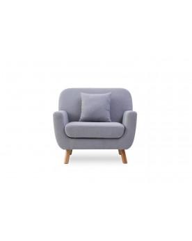 Arya 1P gris clair : fauteuil scandinave en tissu muni de pieds bois + 1 coussin