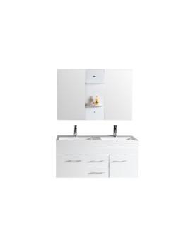 Pengla - ensemble : meuble, 2 vasques, 2 miroirs pour salle de bain - Blanc