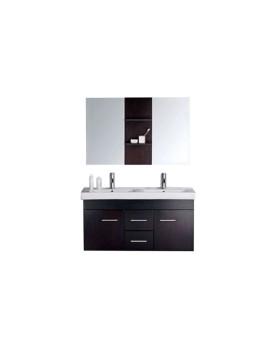 Pengla - ensemble : meuble, 2 vasques, 2 miroirs pour salle de bain - Wengé