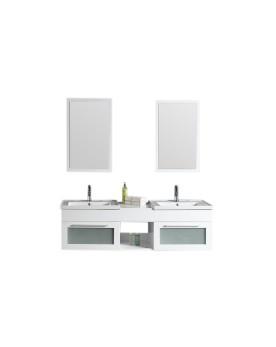 Omble - ensemble : meuble, 2 vasques, 2 miroirs pour salle de bain - Blanc