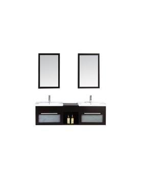 Omble - ensemble : meuble, 2 vasques, 2 miroirs pour salle de bain - Wengé