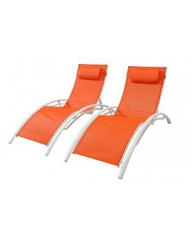 Duo de transats Salvador en Textilène - Orange/Blanc