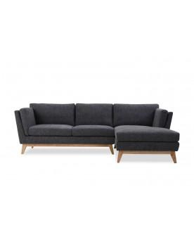 Bakken gris foncé : canapé scandinave 3 places avec méridienne et pieds bois