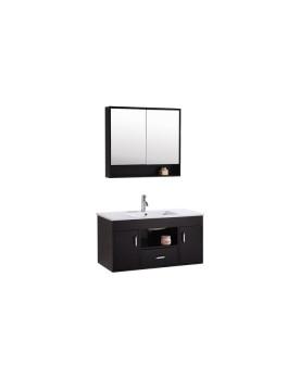 Bimao - ensemble : meuble, 1 vasque, 1 miroir pour salle de bain - Wengé