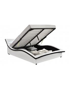 Vermon - Cadre de lit à coffre avec LED blanc 140x190cm