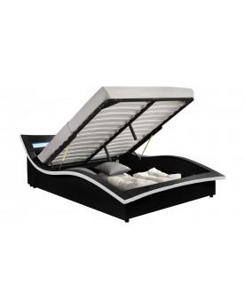 Vermon - Cadre de lit à coffre avec LED noir 140x190cm